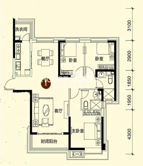 恒大御景湾4#1户型3室2厅2卫 135.00㎡
