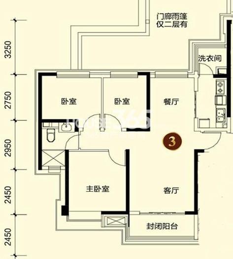 恒大御景湾4#3户型 3室2厅1卫 110.00㎡