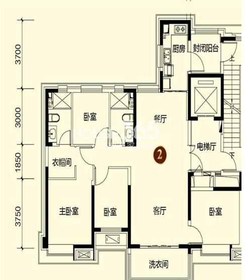 恒大御景湾2#1户型4室2厅2卫 154.00㎡