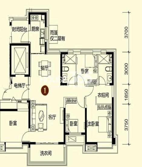 恒大御景湾3#1户型3室2厅2卫 125.00㎡