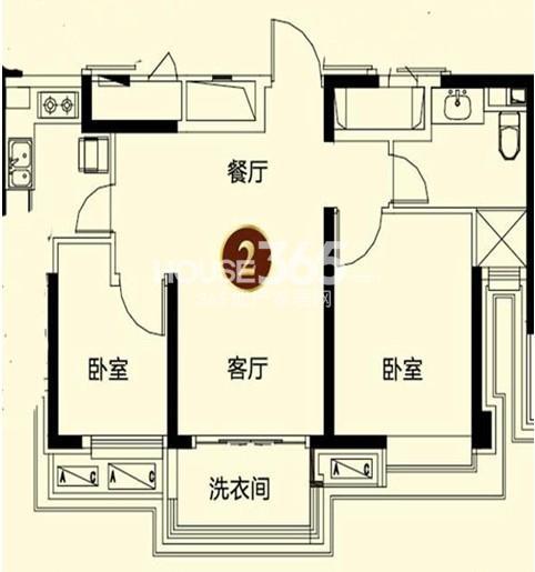 恒大御景湾4#2户型 2室2厅1卫 86.00㎡