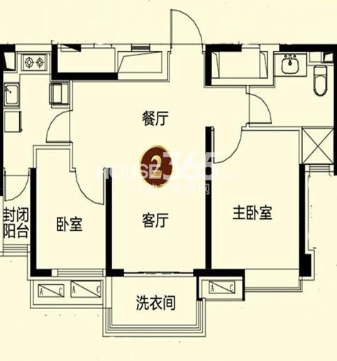 恒大御景湾3#2户型3室2厅1卫 86.00㎡