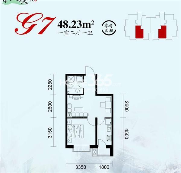 永盛水调歌城户型图 G7户型 一室二厅一卫 48.23平米