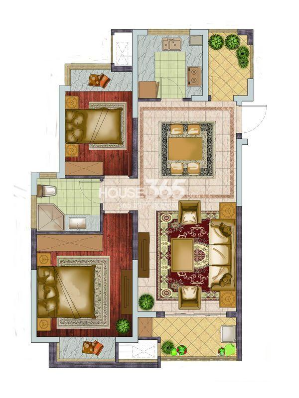 银亿东城一期高层标准层D5户型图