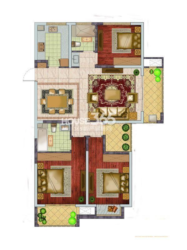 银亿东城一期小高层标准层D3户型图