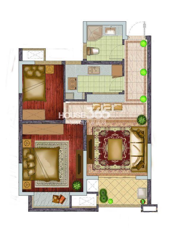 银亿东城一期高层标准层D6户型图