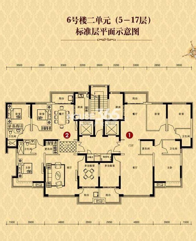 恒大华府6号楼2单元5-17层(售罄)