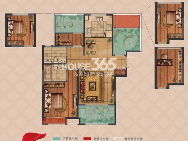 弘阳上湖高层A1户型标准层2+1室2厅2卫1厨 103.00㎡