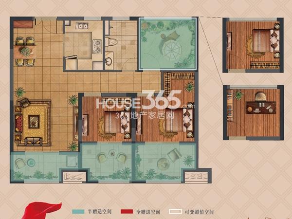 弘阳上湖高层B2户型标准层2室2厅1卫1厨 91.00㎡