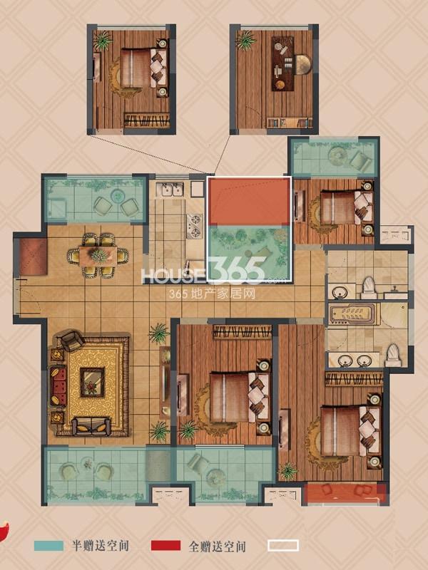 弘阳上湖高层D4户型标准层3+1室2厅2卫1厨 138.00㎡