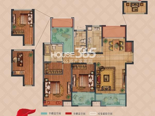 弘阳上湖高层D1户型标准层2室2厅2卫1厨 117.00㎡