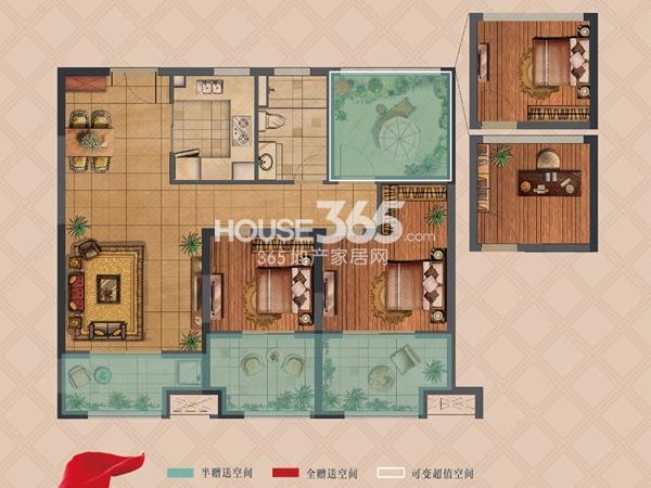 弘阳上湖高层D2户型标准层2室2厅1卫1厨 91.00㎡