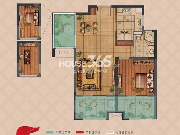 弘阳上湖高层A2户型标准层1+1室2厅1卫1厨 82.00㎡