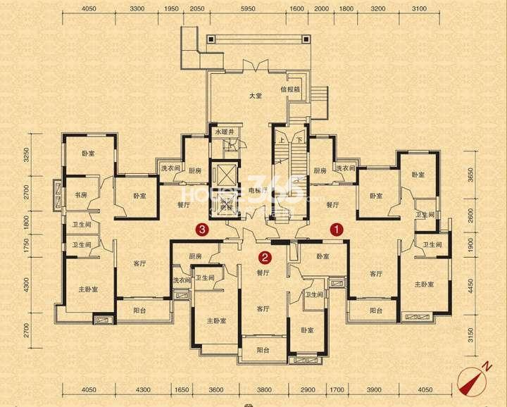 沈阳恒大江湾户型图 13、15号楼二单元一层