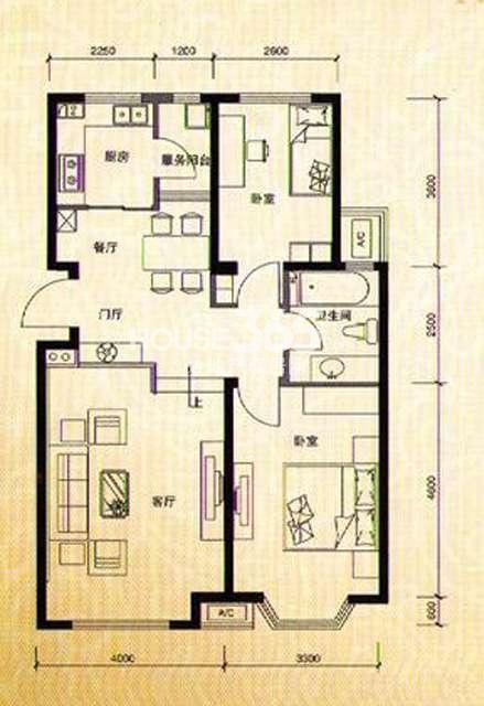 河畔新城C1户型 三室二厅二卫 141.7平米