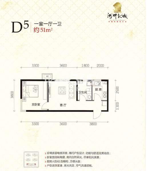 河畔新城D5 1室1厅1卫 51㎡