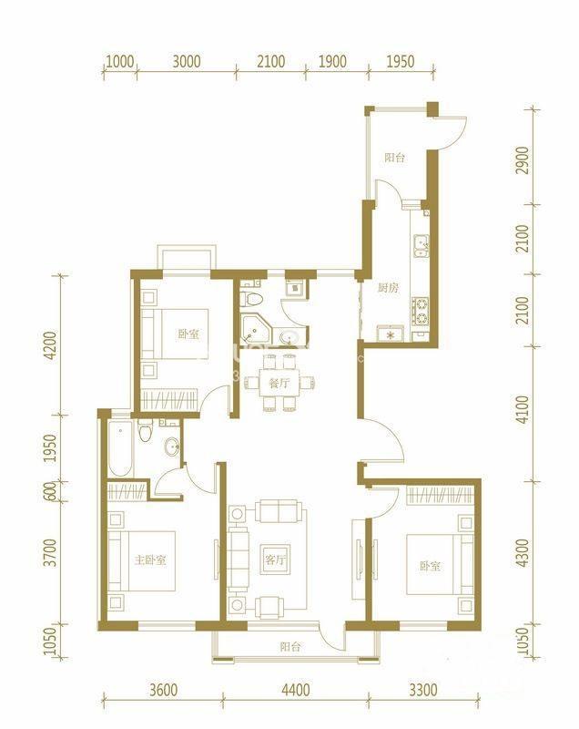 伯爵源筑C户型3室2厅2卫1厨 139.00㎡
