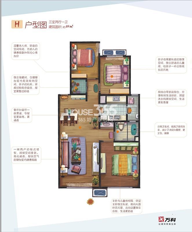 万科金色悦城二期h户型三室两厅一卫89平米