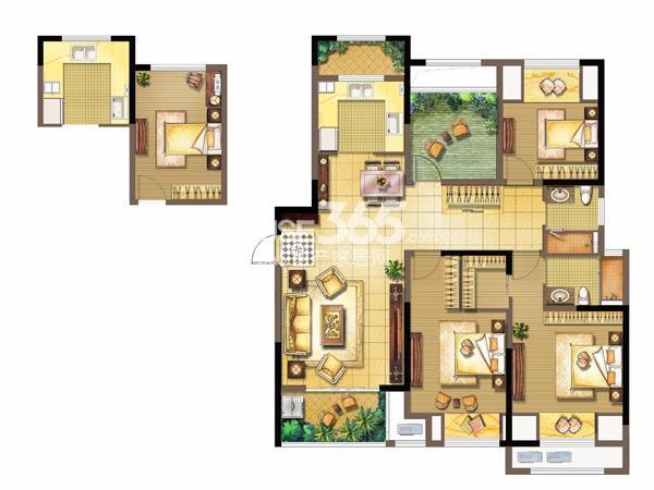 中奥珑郡H-2室2厅2卫+空中花园-119平