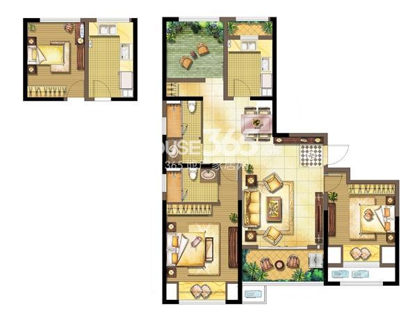 中奥珑郡J-3室2厅2卫+空中花园-139平