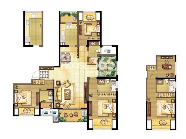 中奥珑郡K-3室2厅3卫+空中花园-142平