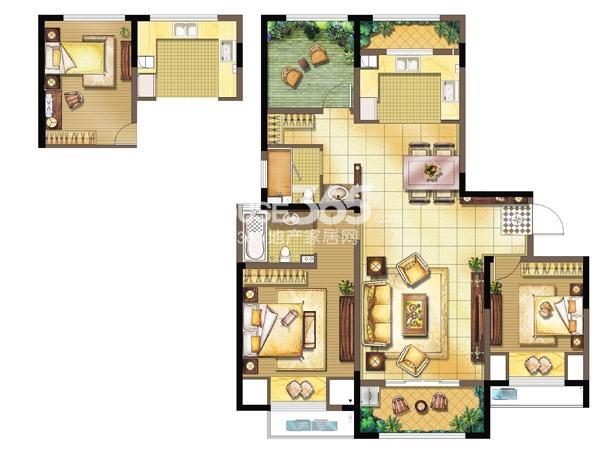 中奥珑郡F-2室2厅2卫+空中花园-121平