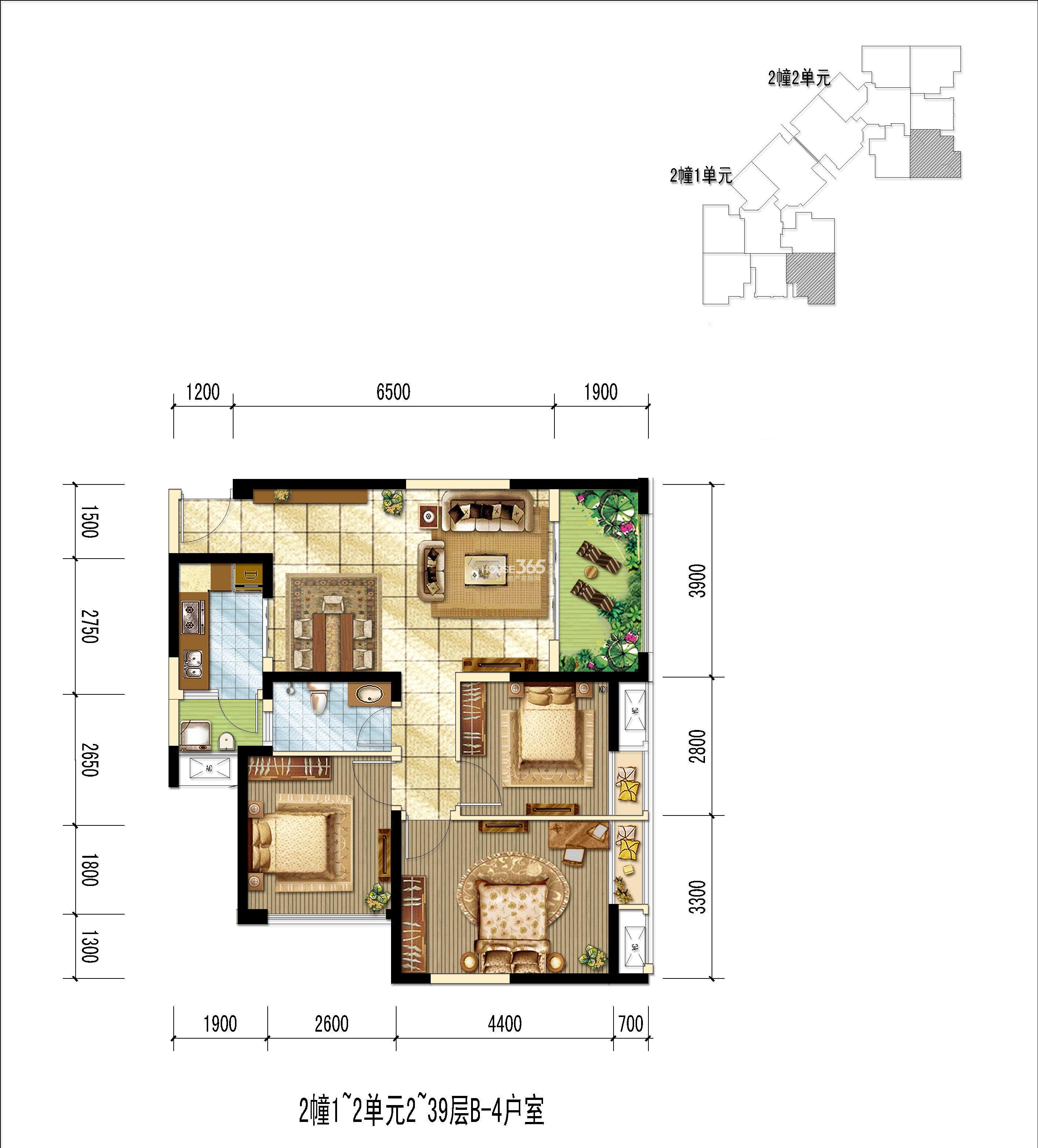 世龙公馆B-4户型图