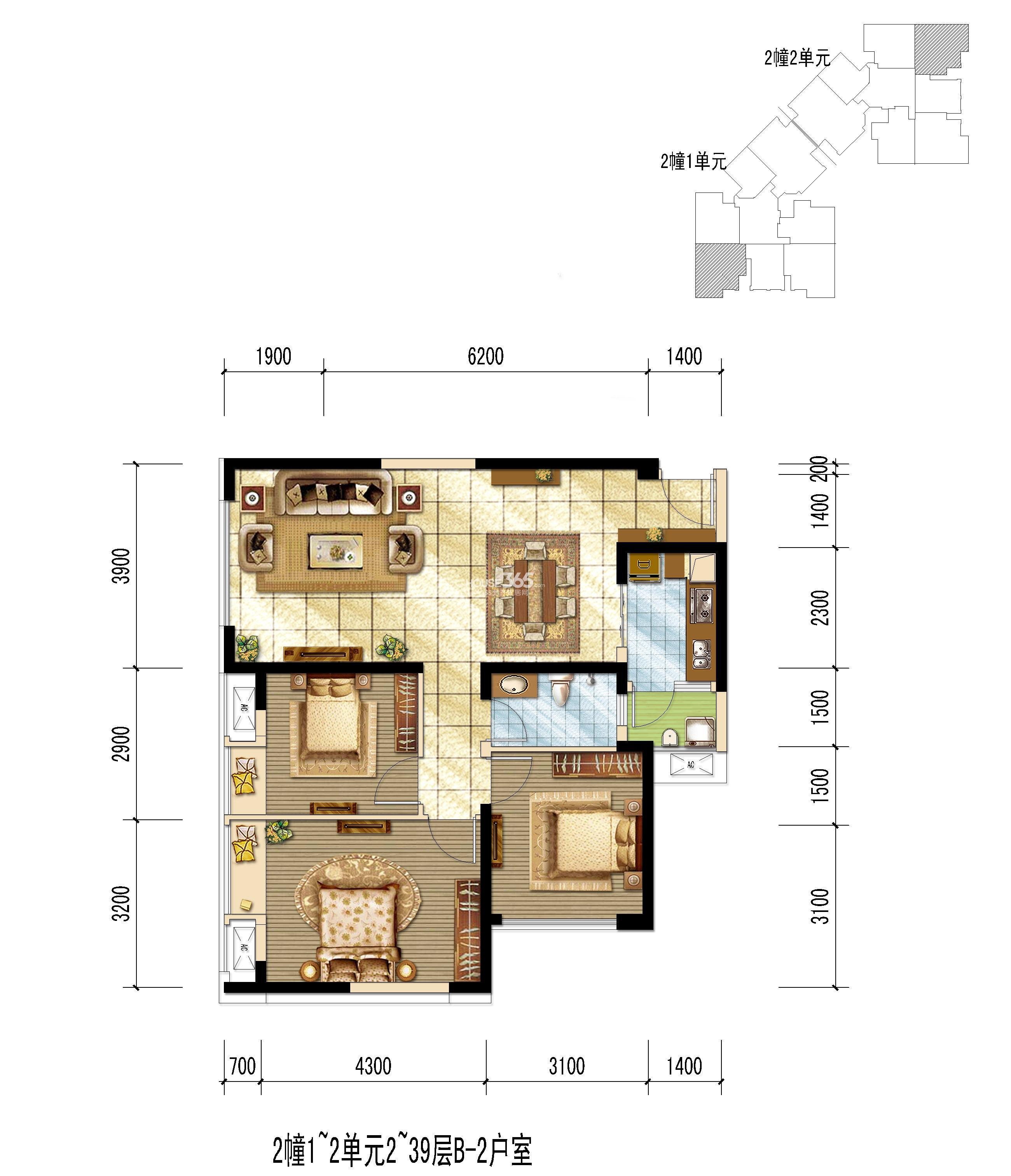 世龙公馆B-2户型图