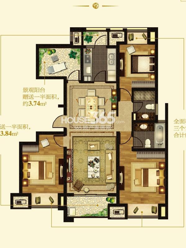 I户型-4房2厅2卫-约139平