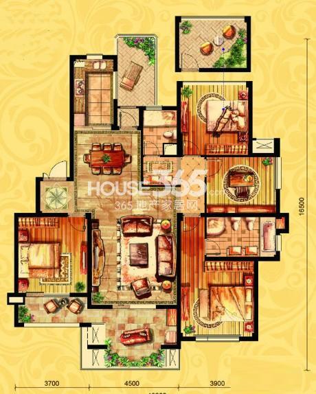 金御华府一期多层3层中间套亨利户型图4室2厅2卫1厨 147.00㎡