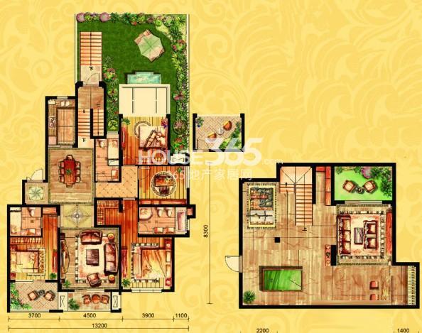 金御华府一期多层2层边套威廉户型图4室3厅2卫1厨 170.00㎡