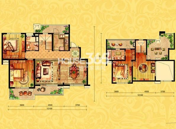 金御华府一期多层6层复式中间套理查德户型图5室3厅2卫1厨 166.00㎡