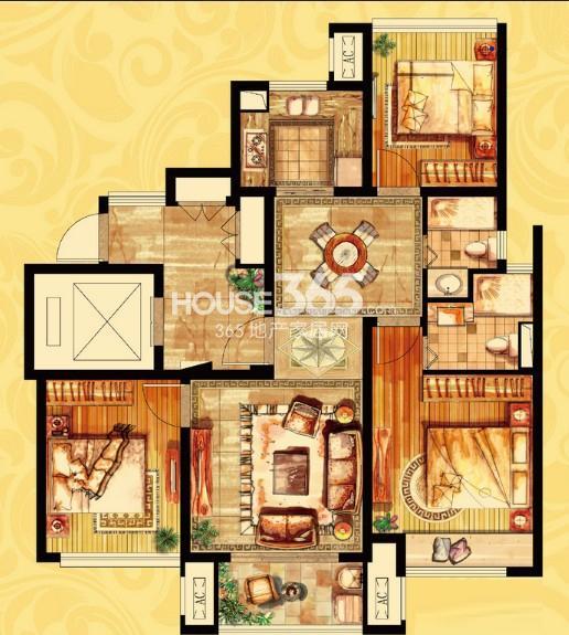 金御华府高层一期标准层户型图3室2厅2卫1厨 94.00㎡