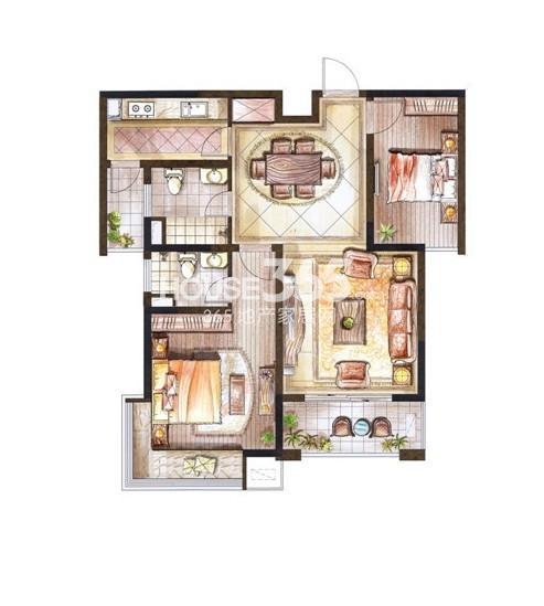 巴黎春天小高层92平米户型2室2厅1卫1厨