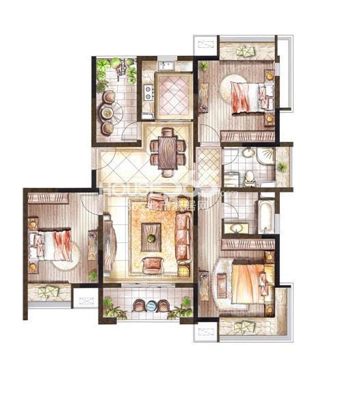 巴黎春天小高层118平米户型3室2厅2卫1厨