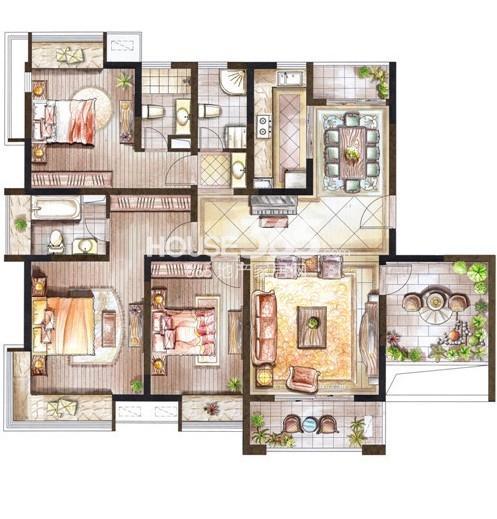 巴黎春天145㎡小高层花园洋房户型4室2厅2卫1厨