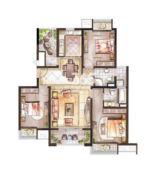 巴黎春天小高层116平米户型3室2厅2卫1厨