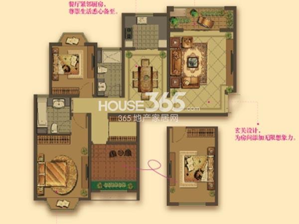 W7户型-2房2厅2卫-121平