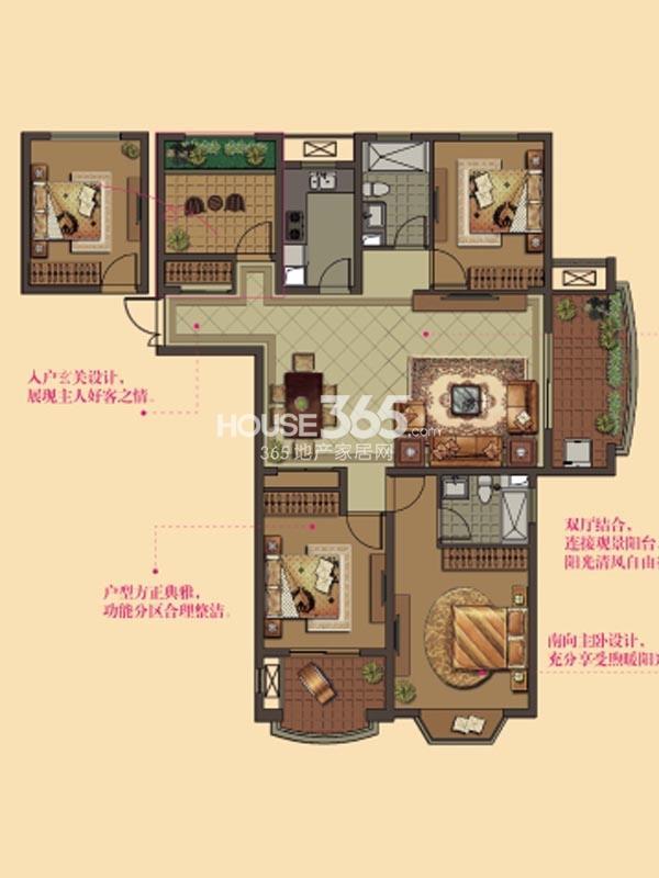 W10户型-2房2厅2卫-140平