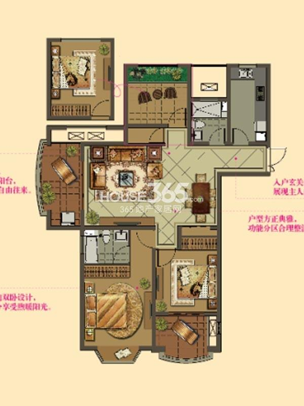 W6户型-2房2厅2卫-122平