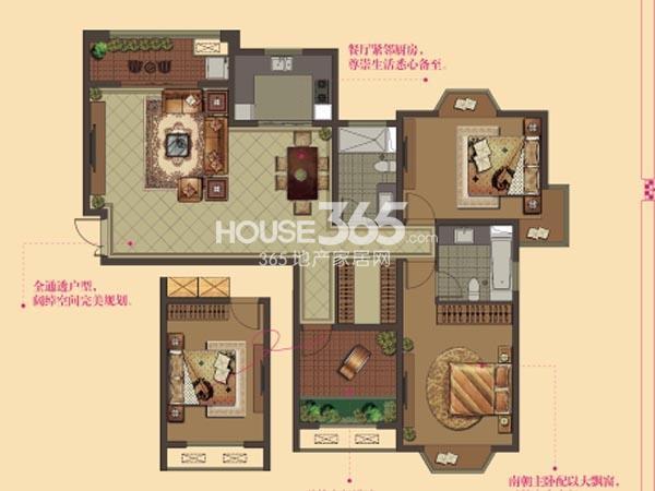 W9户型-2房2厅2卫-129平