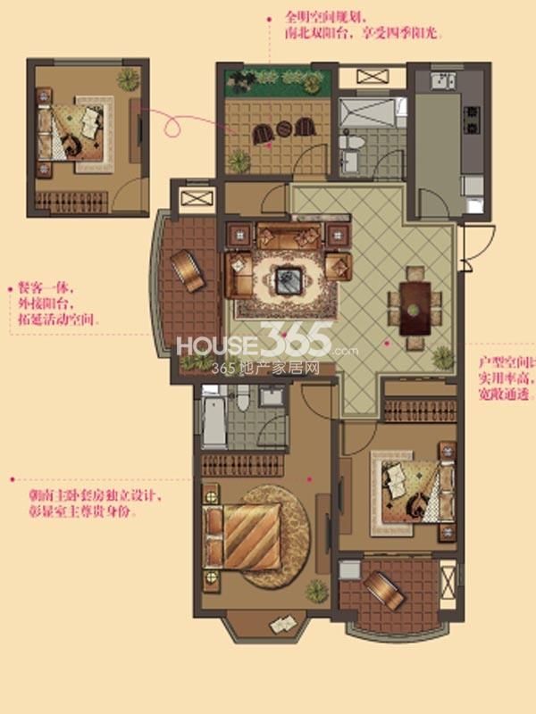 W5户型-2房2厅2卫-119平