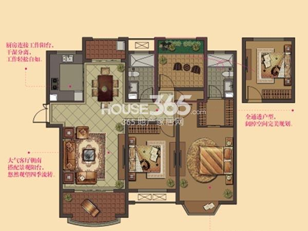 W8户型-2房2厅2卫-124平
