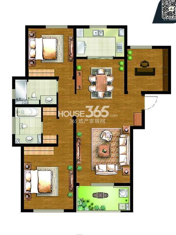 9#楼C3户型-3房2厅2卫-约135平