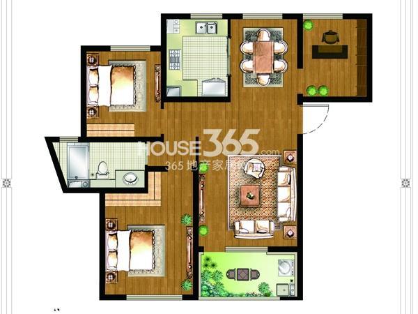 9#楼B3户型-3房2厅1卫-约115平
