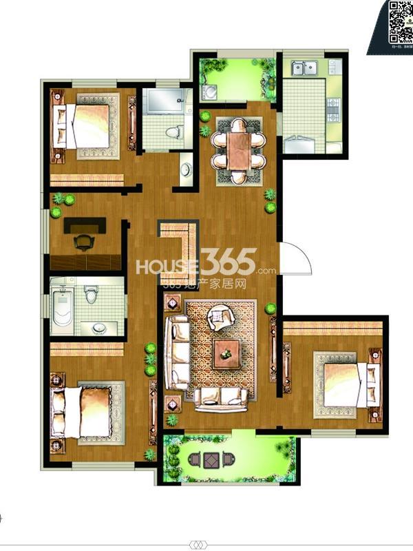 8#楼D1户型-4房2厅2卫-约155平