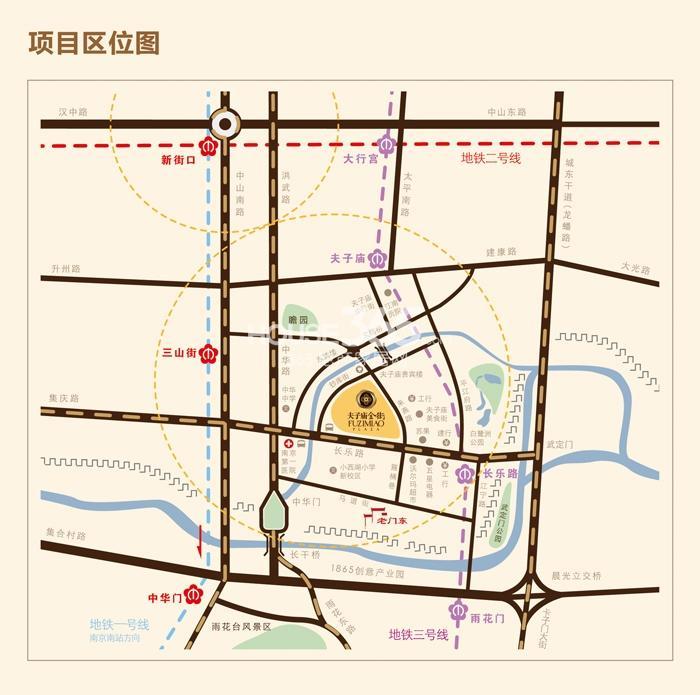 夫子庙金街交通图