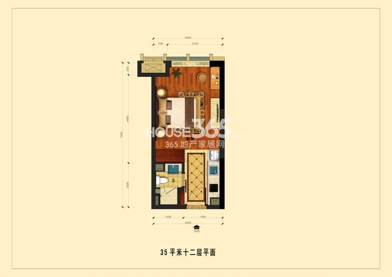 中国铁建国际公馆35平米十二层平面