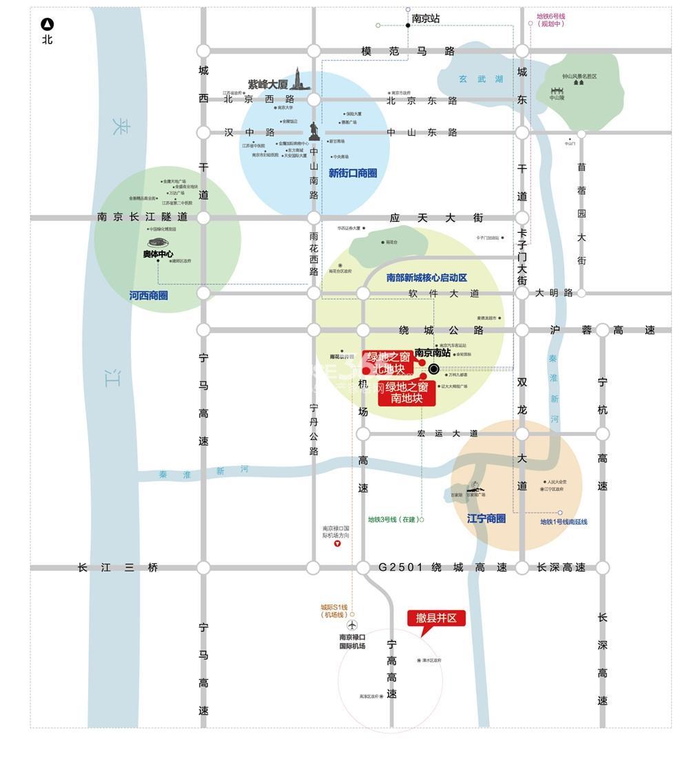 南京城际空间站(原绿地之窗)交通图