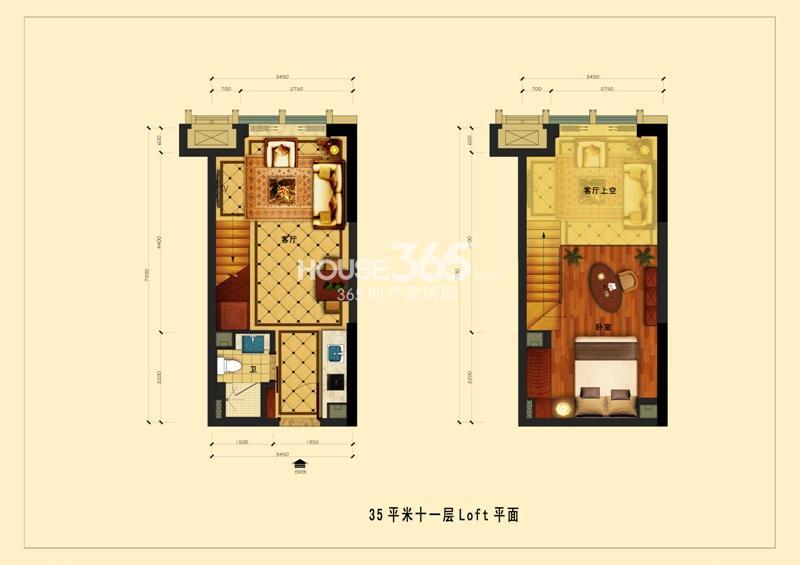 中国铁建国际公馆35平米十一层Loft平面
